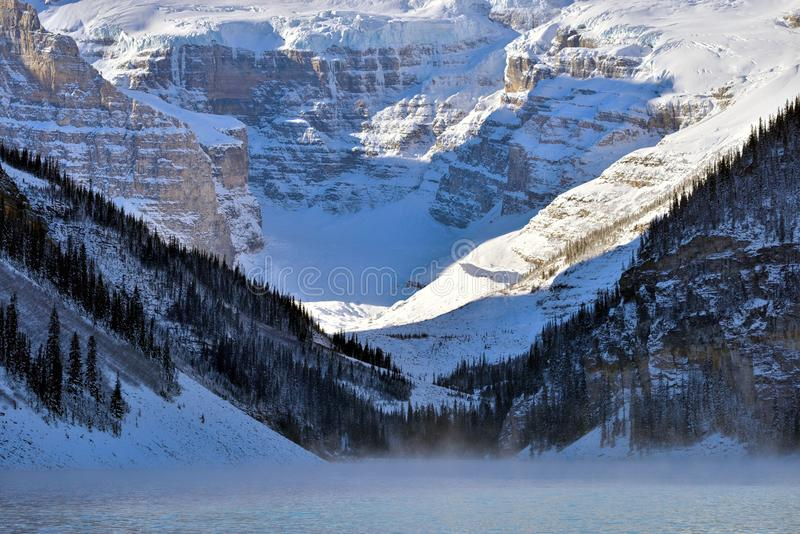 Lake Louise. And Victoria Glacier in winter royalty free stock photography
