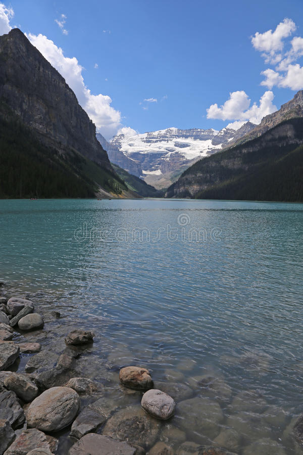 Lake Louise Vista. Beautiful Lake Louise, located in Banff National Park, Alberta, Canada stock image