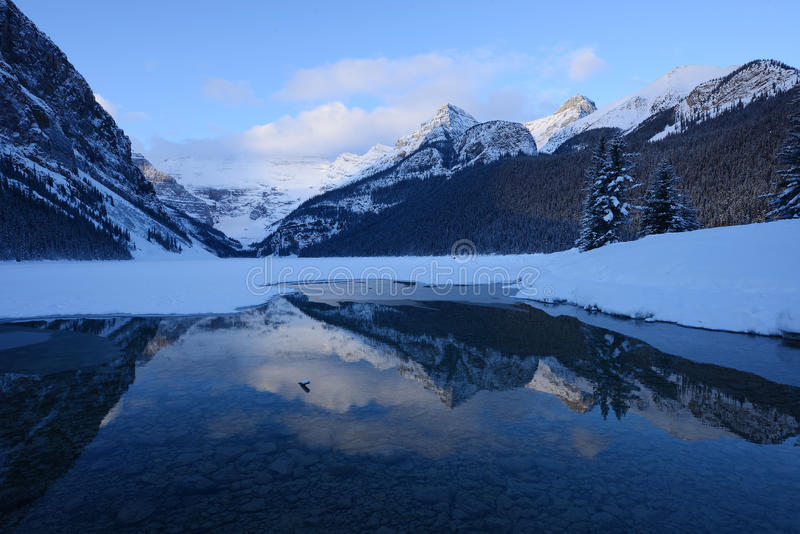 Lake louise winter. Winter morning at lake louise with snow stock photo