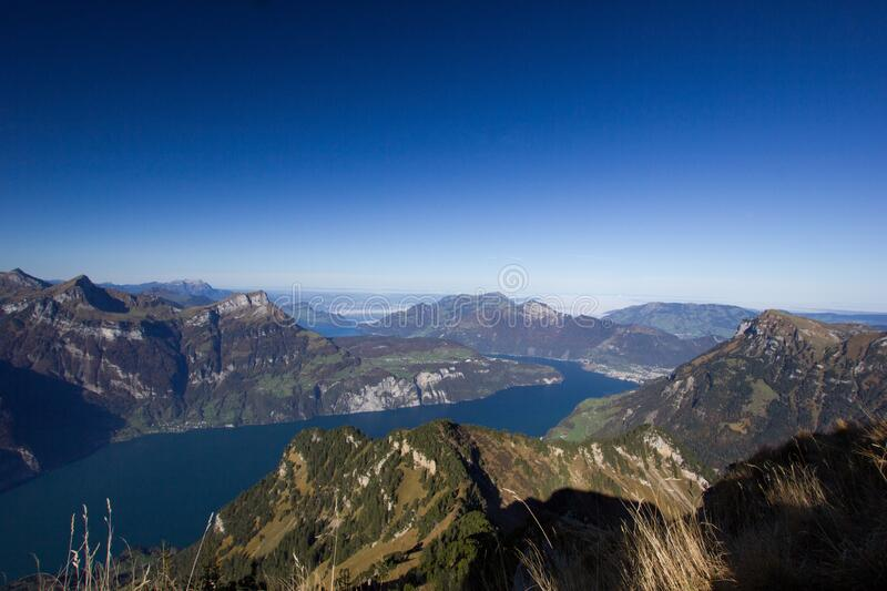 Lake lucerne on a sunny autumn day. Lake lucerne, on a sunny autumn day stock photo