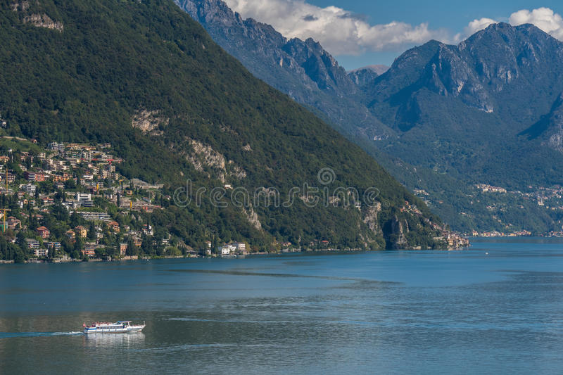 LAKE LUGANO, SWITZERLAND/ EUROPE - SEPTEMBER 21: View of the Fer. Ry on Lake Lugano in Switzerland on September 21, 2015. Unidentified people royalty free stock photography