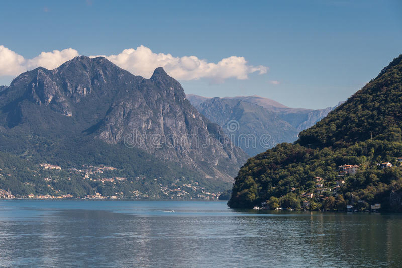 LAKE LUGANO, SWITZERLAND/ EUROPE - SEPTEMBER 21: View of Lake Lu. Gano in Switzerland on September 21, 2015 stock photo