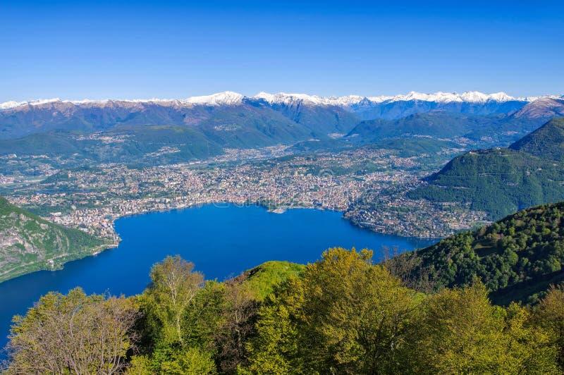 Lake Lugano and town Lugano. Switzerland stock photography
