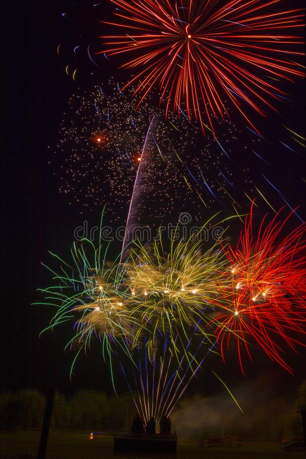 Lake Madison and the City of Madison, South Dakota celebrate the 4th of July with Fireworks stock photo