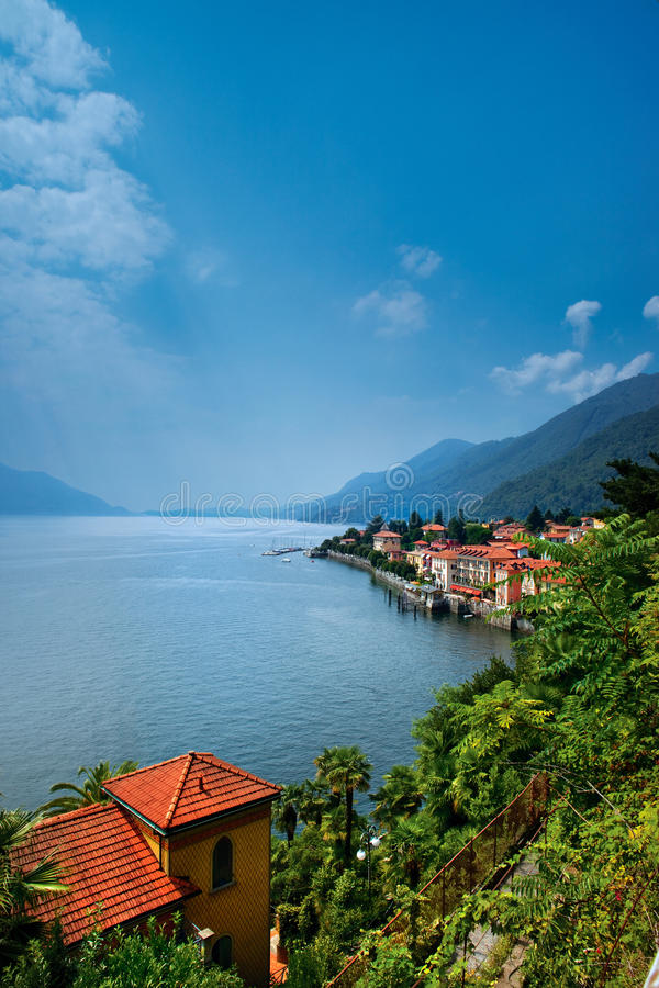 Lake Maggiore. Aerial view of Lake Maggiore with homes on shoreline, Italy royalty free stock photos