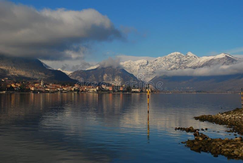 Lake Maggiore, Baveno, Italy. Baveno seen from Isola dei Pescatori. Lake Maggiore Italy stock photography