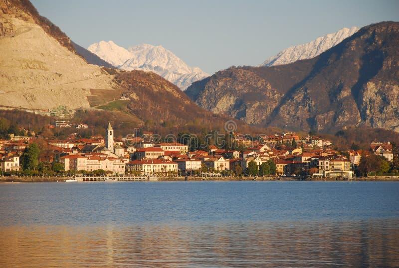 Lake Maggiore - Baveno, Italy. Baveno at Sunrise. Lakeside resort by Lake Maggiore, Italy royalty free stock image
