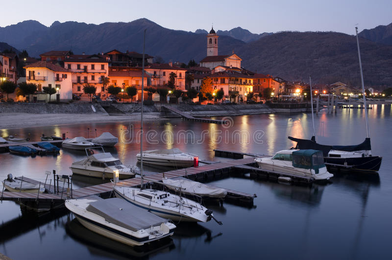 Lake Maggiore at dusk. The village of Feriolo on Lake Maggiore, Italy, at dusk royalty free stock photography
