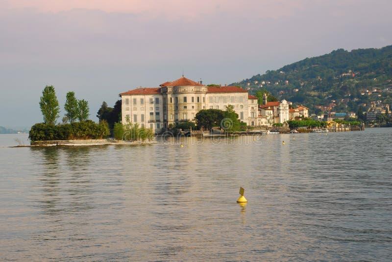 Lake Maggiore - Isola Bella. The Borromeo palace on the isola Bella, seen from isola dei Pescatori, Lake Maggiore, Italy stock photography