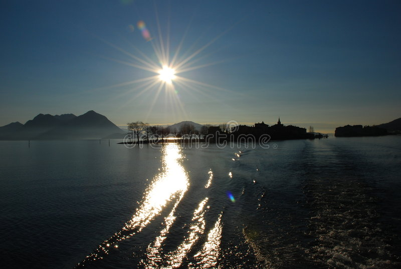 Lake Maggiore, Isola dei Pescatori at Sunrise. Isola dei Pescatori at Sunrise. Lake Maggiore, Italy royalty free stock photo