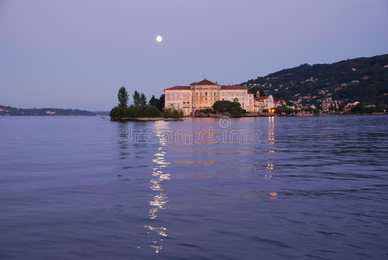 Lake Maggiore, Italy. Isola Bella by night. Moolight on Isola Bella, Lake Maggiore, Italy. Night scene stock photos