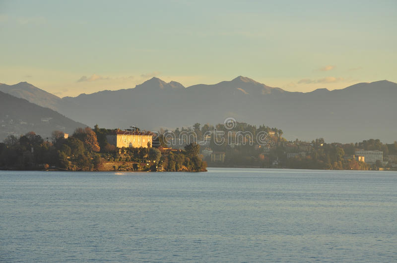 Lake Maggiore, Italy: Pallanza and isola Madre sunset royalty free stock photo