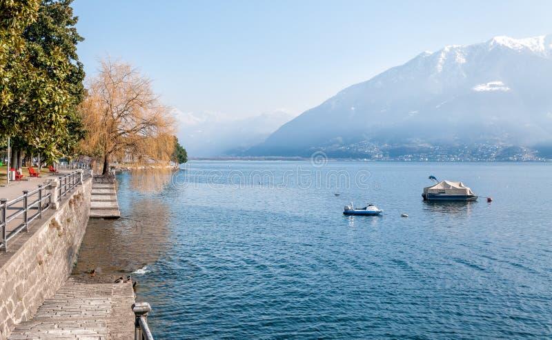 Lake Maggiore, Locarno. Lake Maggiore from Locarno, Switzerland stock photo