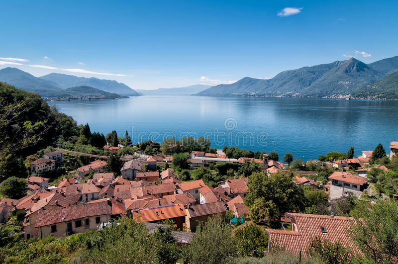 Lake Maggiore, Maccagno. Panoramic view of Lake Maggiore from Maccagno, province of Varese, Lombardy, Italy stock photos