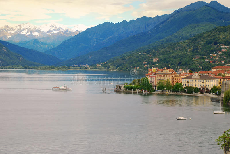 Lake Maggiore, Pallanza, Italy. The town of Verbania Pallanza, lake Maggiore, Italy, with Alps background stock photography