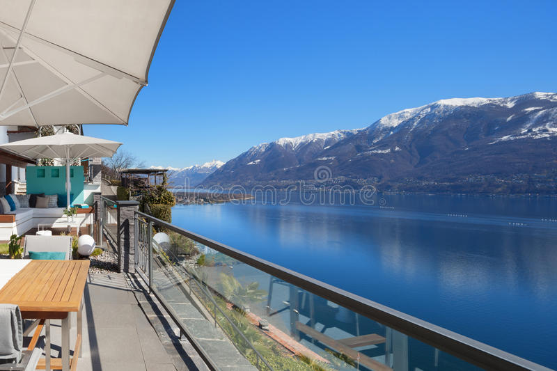 Lake Maggiore. Panoramic view of Lake Maggiore in Ticino, Switzerland royalty free stock photo