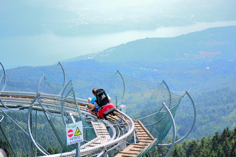 Lake Maggiore scenic view and Alpine coaster Italy stock image