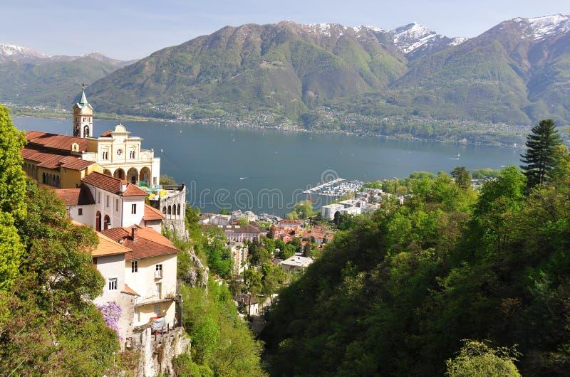Lake Maggiore, Switzerland. Madonna del Sasso, medieval monastery on the rock overlook lake Maggiore, Switzerland royalty free stock photo