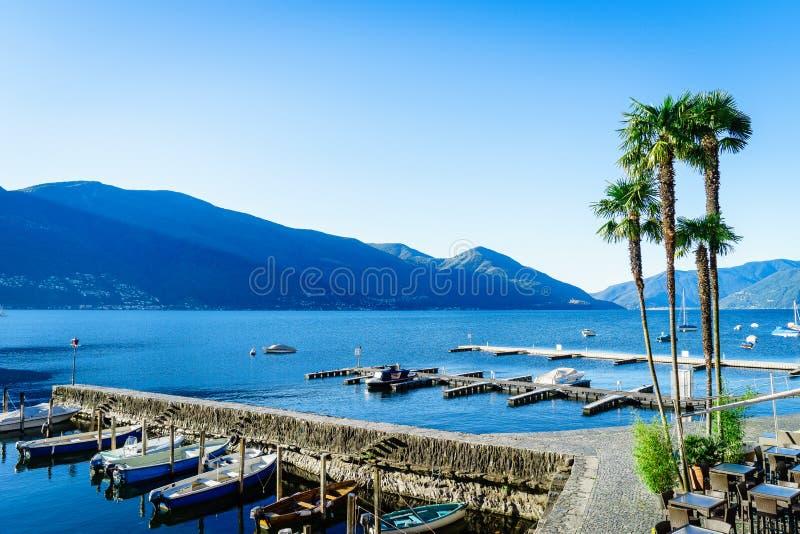 Lake Maggiore, Switzerland. Lake Maggiore in Ascona, in the canton of Ticino, Switzerland. Photo taken on: April 03rd, 2014 stock images