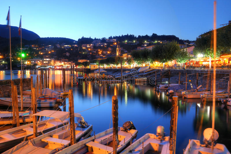 Lake Maggiore, Switzerland. Night scene of the beautiful resort of Ascona on Lake Maggiore in the canton of Ticino, Switzerland stock image