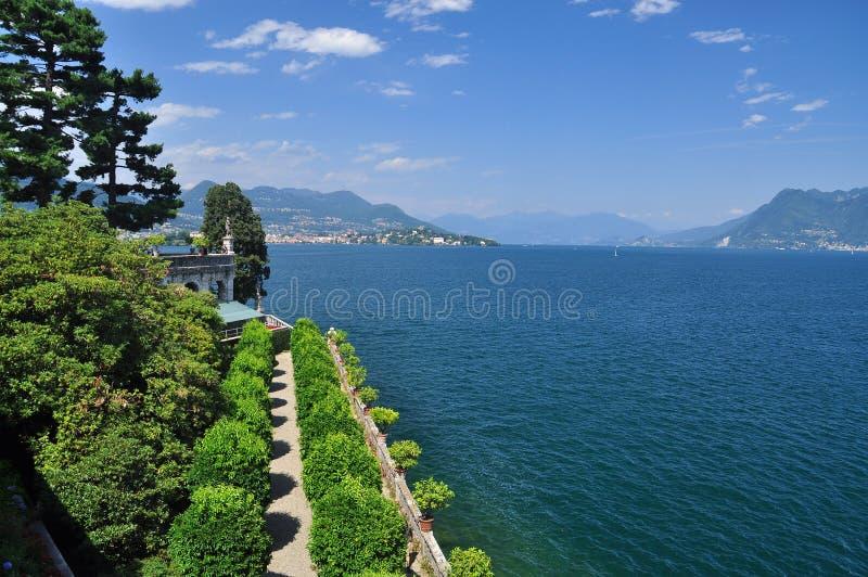 Lago (lake) Maggiore view from Isola bella. Isola Bella, lake (lago) Maggiore view. Piedmont, Italy. The Borromeo botanical italian gardens royalty free stock image