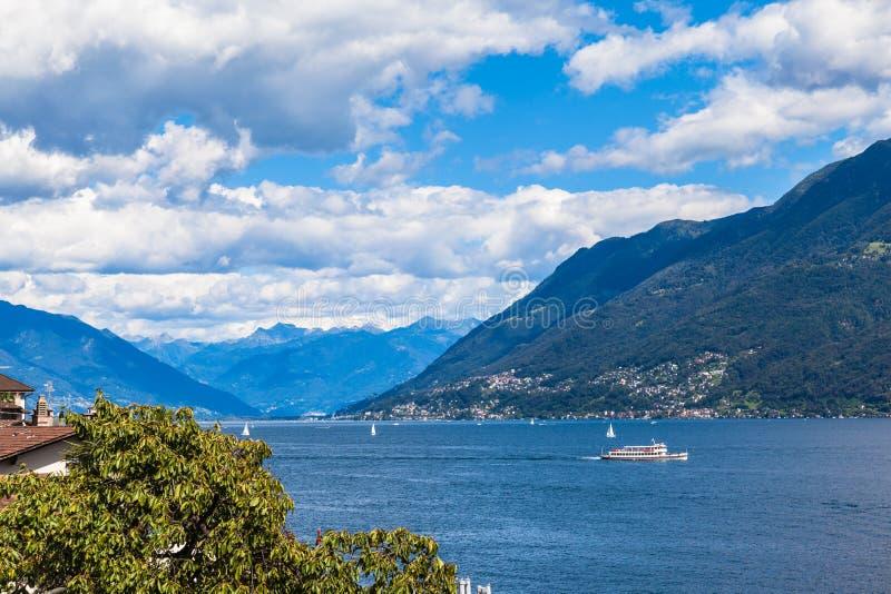 Lake Maggiore. View of Lake Maggiore in Ticino, Switzerland stock photos