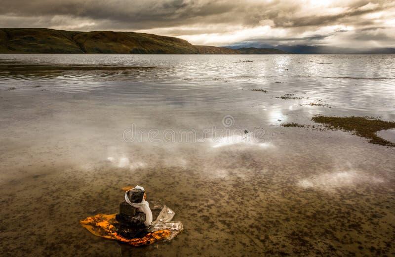 Lake Manasarovar. Tibet. royalty free stock image