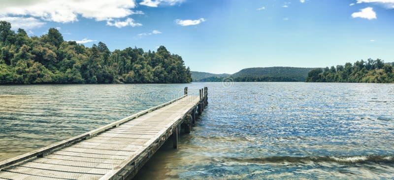 Lake Mapourika panorama stock image