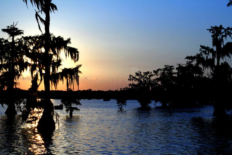 Lake Martin Multicolored Sunset in Southern Louisiana. Sun Shining Through Cypress Trees, Highlighting the moss that covers them. Multicolored Sky stock images