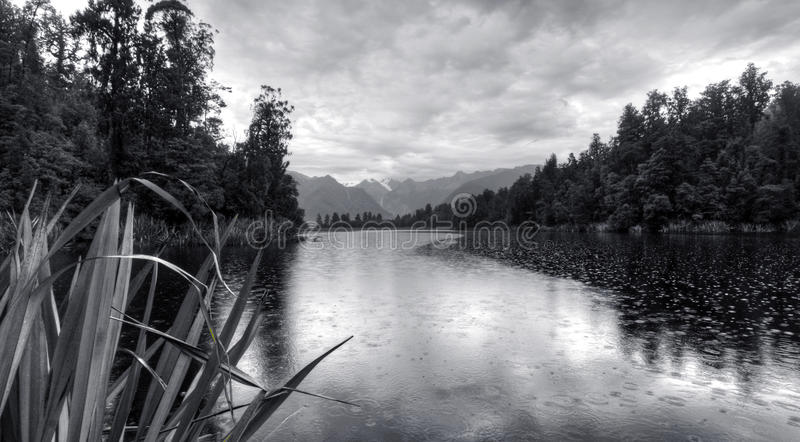 Lake Matheson in New Zealand Mountains royalty free stock images