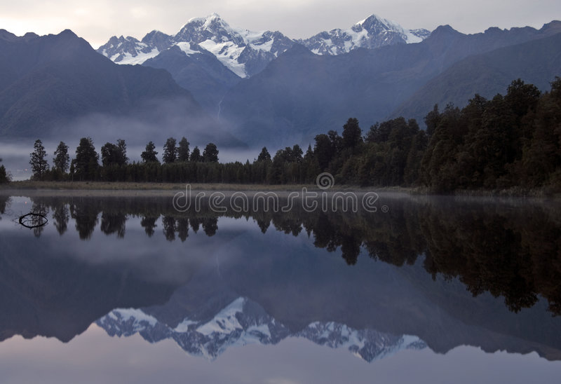 Lake Matheson Reflection stock photos