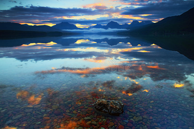 Lake McDonald in Glacier National Park, Montana, USA stock photo