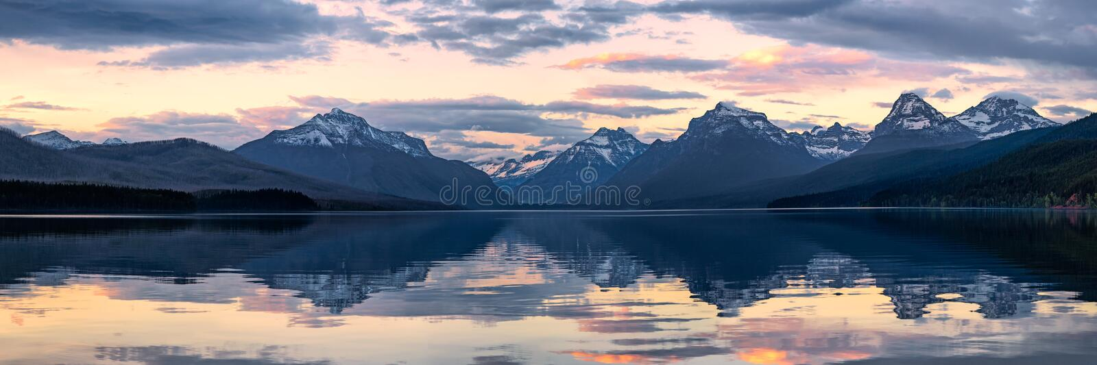 Lake McDonald in Glacier National Park at sunset royalty free stock photo