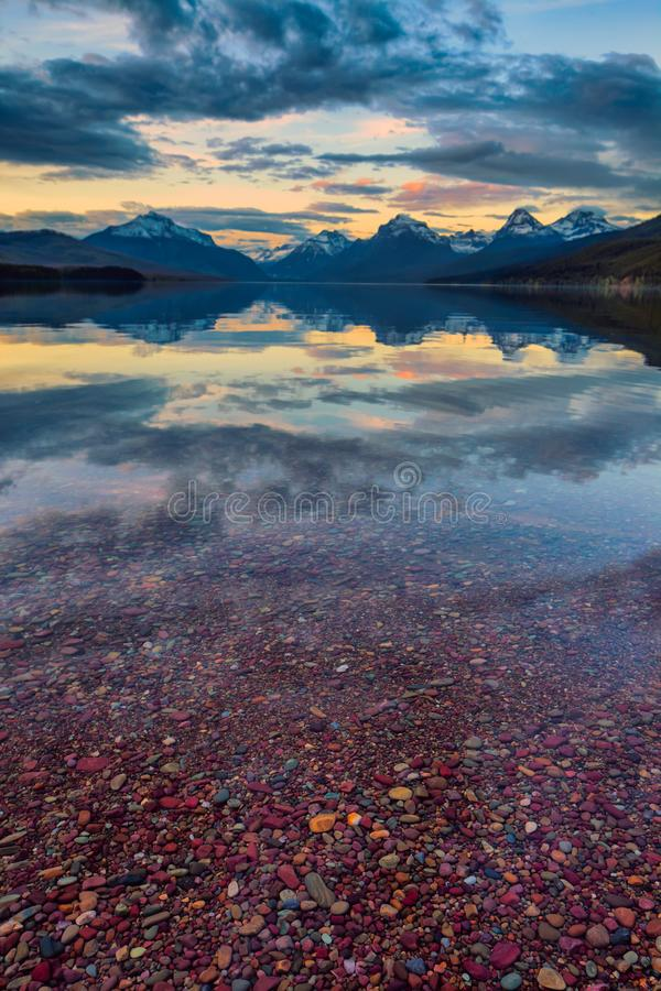 Lake McDonald in Glacier National Park at sunset stock photo