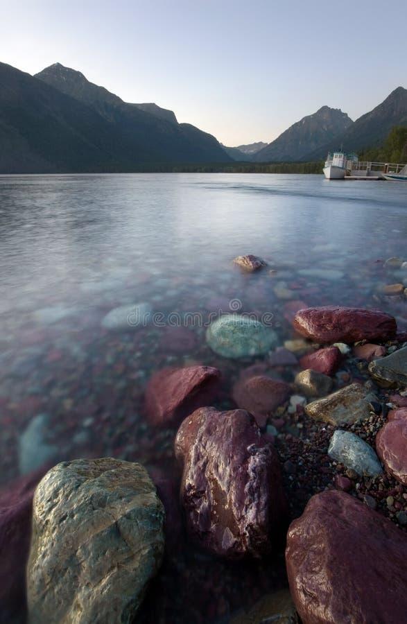 Lake McDonald, Glacier National Park, at Twilight stock photos