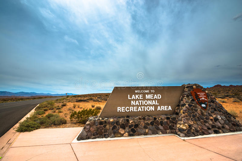 Lake Mead National Recreation Area entrance sign royalty free stock image