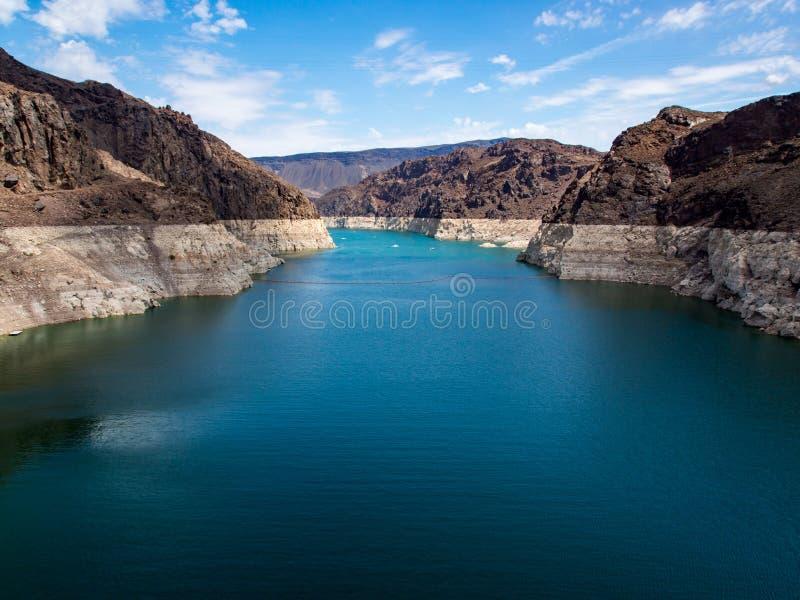 Lake Mead, Niedrigwasser-Niveau, der Colorado, Hooverdamms-Ansicht lizenzfreie stockbilder