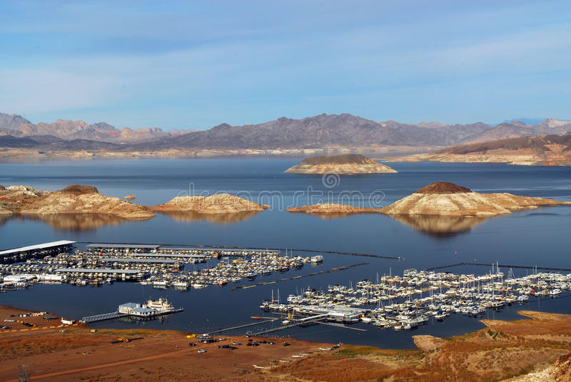 Lake Meade from Nevada near Hoover Dam. Lake Meade National Recreation Area, NV - December 15, 2009 - Wide view of Lake Meade and marina from Nevada near Boulder stock image