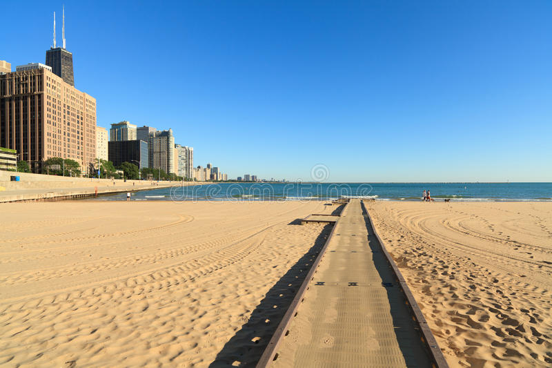 Lake Michigan beach Chicago stock photos