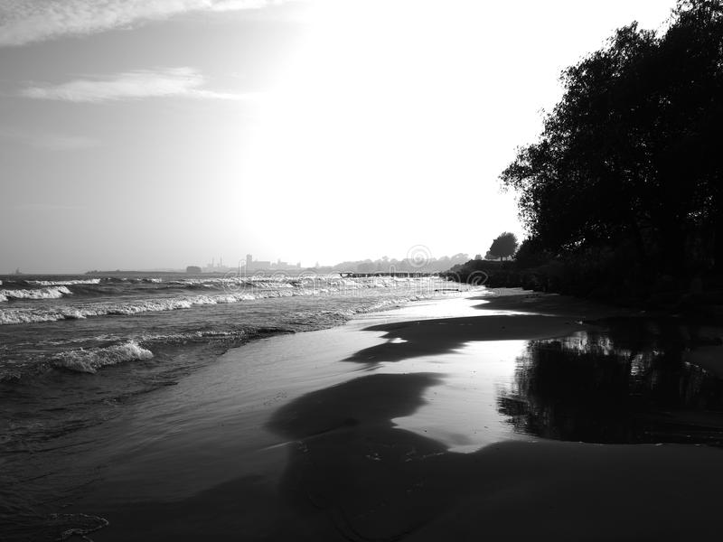 Lake Michigan Beach. The beach of great Lake Michigan in Manitowoc Wisconsin stock photography