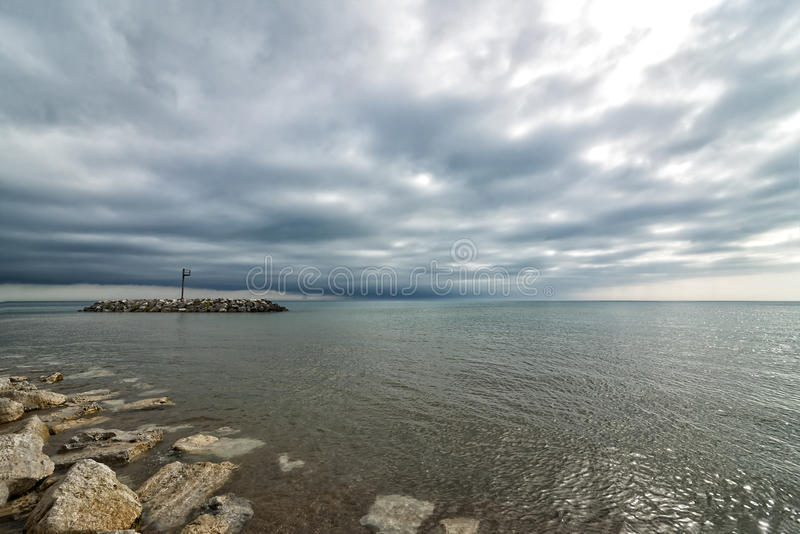 Lake Michigan. On a cloudy day , spectacular skies , Chicago Illinois stock image