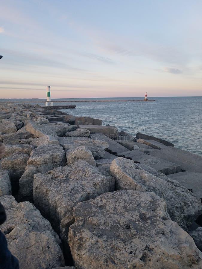 Lake Michigan fyr royaltyfri bild
