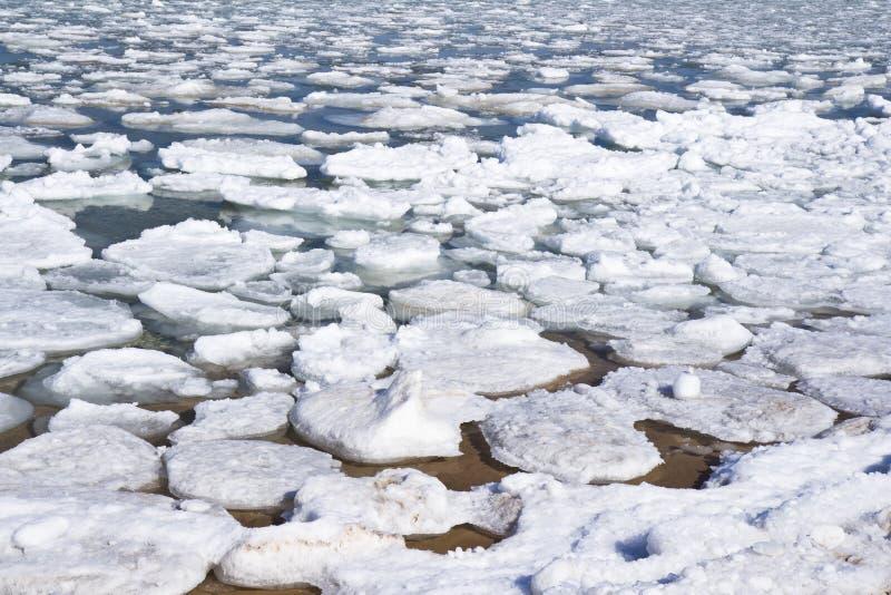 Lake Michigan Iceburgs. Ice flow on Lake Michigan beach stock photo