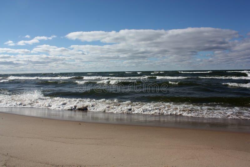 Lake Michigan. Large waves on Lake Michigan in Michigan, USA royalty free stock photo