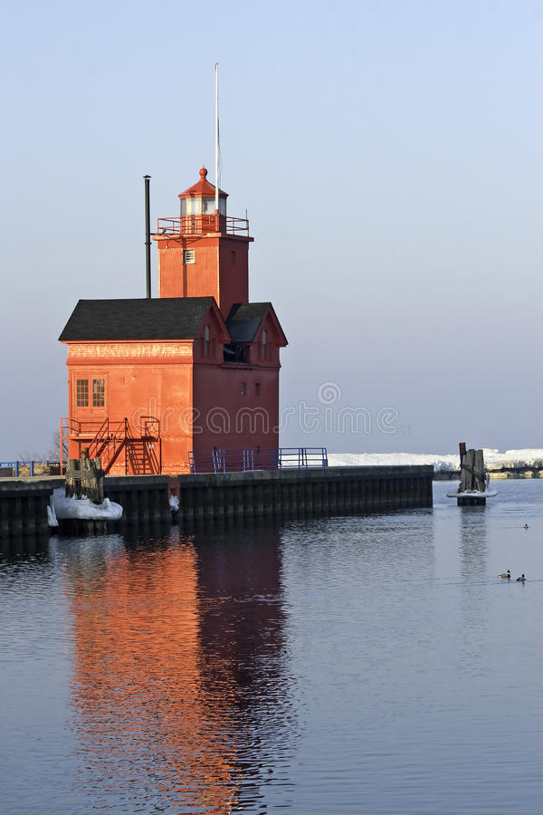 Lake Michigan Lighthouse in Morning light stock photography