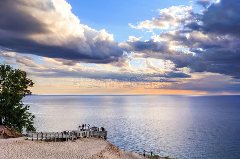 Lake Michigan Overlook at Sunset. Sunset skies and a wide seascape expanse, The Lake Michigan Overlook at the Sleeping Bear Dunes National Lakeshore, Lower royalty free stock photo