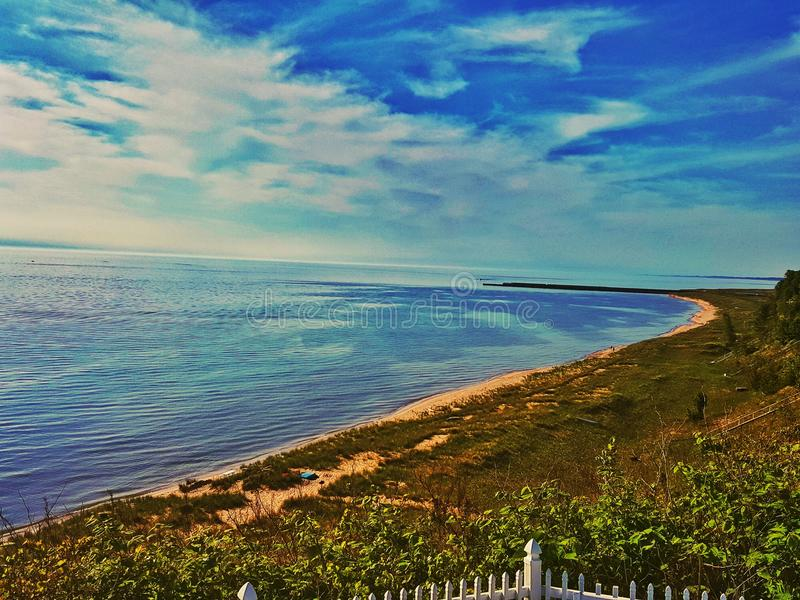 Lake Michigan på port Sheldon arkivbilder