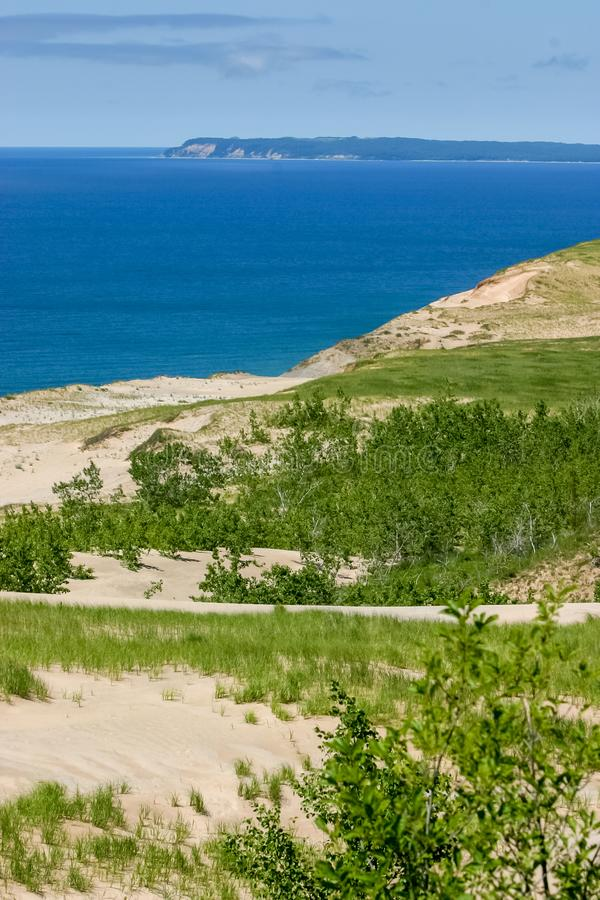 A lovely day along the shores of Lake Michigan in the Sleeping Bear Dunes on a summer day royalty free stock photo