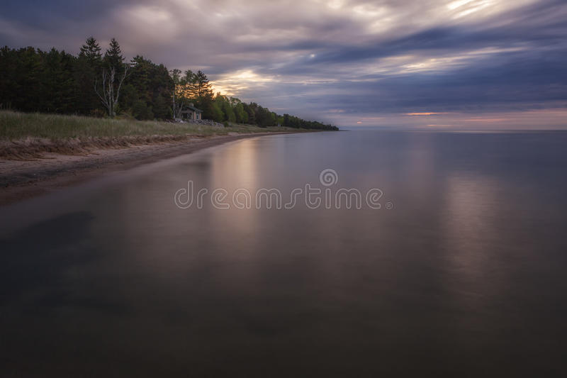 Lake Michigan Shore. A stretch of shoreline along Lake Michigan in Door County, Wisconsin stock images