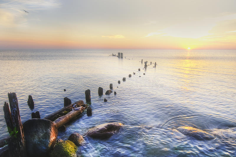 Lake Michigan Shore at Sunrise royalty free stock image